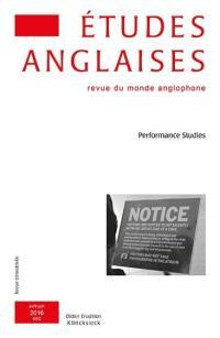 Etudes anglaises. n° 2 (2016), Performance studies
