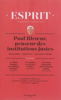 Esprit. n° 439, Paul Ricoeur, penseur des institutions justes