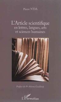 L'article scientifique