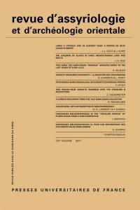 Revue d'assyriologie et d'archéologie orientale. n° 111