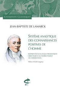 Système analytique des connaissances positives de l'homme