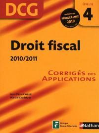 Droit fiscal, 2010-2011, DCG, épreuve 4