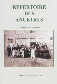 Répertoire des ancêtres : 1.022 ancêtres pour 10 générations