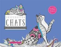 Inspiration chats : 14 cartes postales à colorier