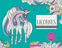 Inspiration licornes : 14 cartes postales à colorier