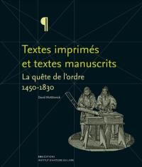 Textes imprimés et textes manuscrits
