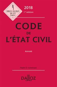 Code de l'état civil 2018 : annoté