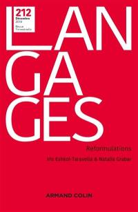 Langages. n° 212, Reformulations